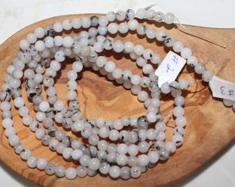 "16"" Strand of 5mm Smooth Round Rutilated Quartz Beads"
