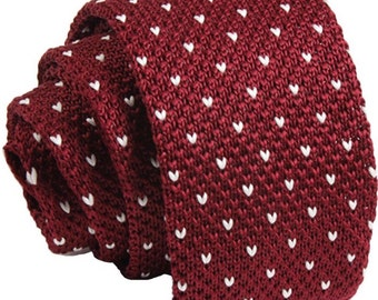 Maroon Knit Necktie with White Poker Dots.Gift for Men.Skinny Knitted Tie. Knit Wedding Neckties