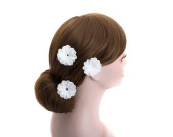White Daisy Wedding Flower Silver U pin,Bride,Bridesmaid Flower Hair Clips,Hair pin, Headpiece-WHU104