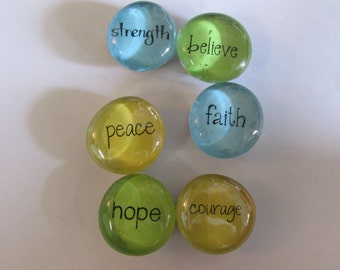 Glass marble magnets with inspirational words