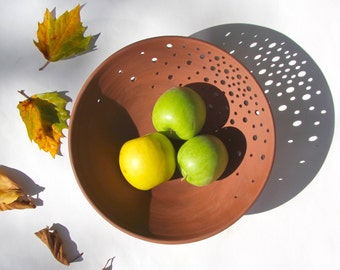 Modern pottery fruit bowl, fall inspired ceramic terra-cotta fruit bowl by Curve Ceramics
