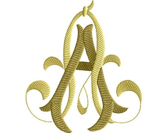"""AA 2 Two-Letter Monogram Machine  Embroidery Design in 4 Sizes - for 5""""x 7"""" and 4"""" x 4"""" hoops"""