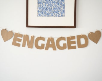 Rustic 'ENGAGED' Kraft cardstock bunting || engaged banner engaged sign engaged garland engagement party decor decrations