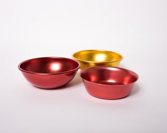 Vintage Aluminum Bowls Set of Three Red and Gold