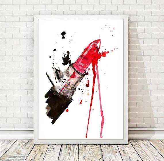 Fashion Print Lipstick MAC Poster Watercolor Chanel Poster