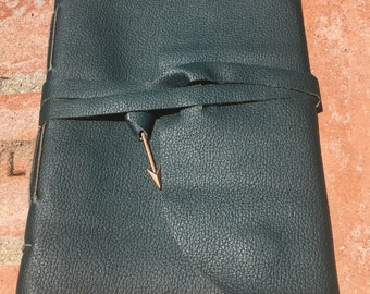 HALF OFF-Leather Personal Travel Journal, REFILLABLE, Genuine hand-stitched leather journal with wrap closure and charm