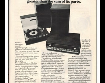 """Vintage Print Ad December 1969 : RCA Synergistic Stereo Turntable Wall Art Decor 8.5"""" x 11"""" Advertisement"""