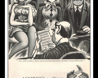 "Vintage Print Ad December 1969 : Clairol Cosmetics - Kindness Instant Hairsetter Illustration Wall Art Decor 8.5"" x 11"" Advertisement"
