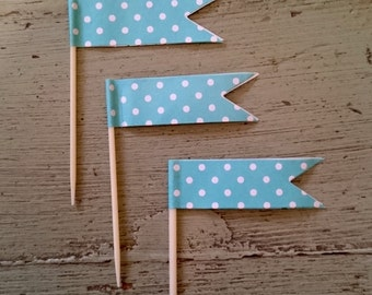 Teal Green Polka Dot Cupcake Toothpick Flags.  Cupcake Decorations.  Turquoise Blue Flag Toothpicks. Cupcake Toppers