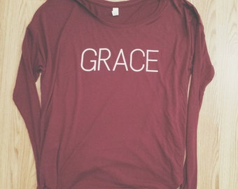 Grace Long Sleeve Tee (Maroon)