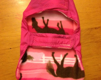 X-Small Pink Dog Raincoat with Pink Horse Patterned Fleece Lining