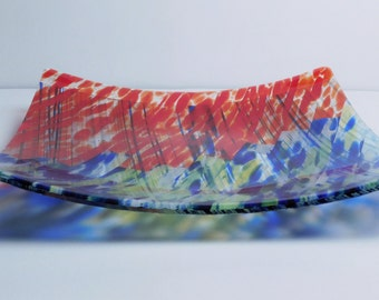 A fused glass Square Platter Autumn