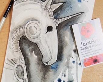 Steampunk fantasy sci-fi unicorn original art Cyberman unicorn illustration sci-fi art
