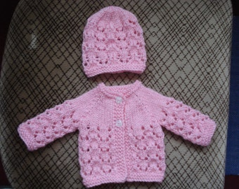Prem Baby or Doll Cardigan and Hat