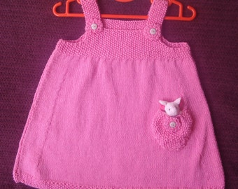 Pink Cotton Dress with Finger Puppet in Pocket