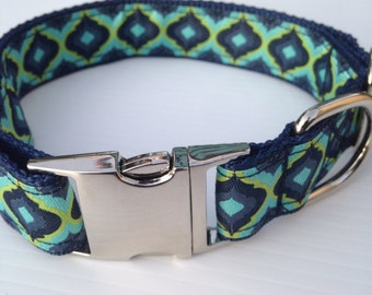 Stylish Blue and Green Adjustable Quick Release Dog Collar.