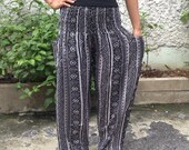 Trousers Yoga Pants Native Print Hippie Baggy Boho Hobo Fashion Style Clothing Rayon Gypsy Tribal Clothes Exercise For Beach Summer Black