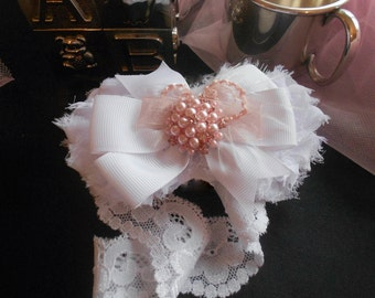 White Shabby Chic Elastic Lace  Headband