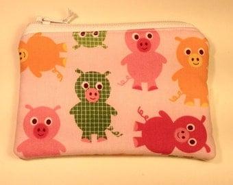 Handmade cotton coin purse - pink pigs