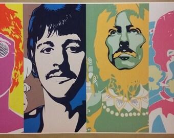 "The Beatle's White Album Psychedelic Art WIDE GIANT 46"" x 24""  Digital Poster Print John Paul George Ringo"