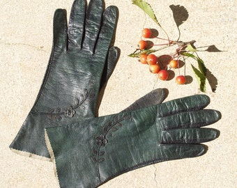1950's Women's Dark Green Kid Leather Gloves with Floral Embellishment Small Size 6 and 3/4 by Aris, Gifts for Women