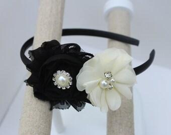 Black girls headbands black and ivory flower girl headband black and ivory headband black wedding headbands ivory and black headbands