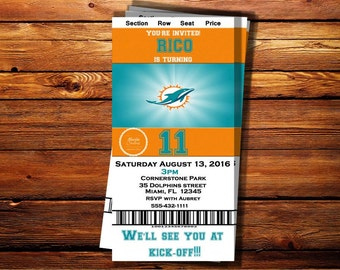 Miami Dolphins Ticket Birthday Invitation-Can be customized to any occasion