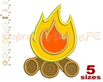 Campfire Applique Design - 5 sizes - Machine Embroidery Design File