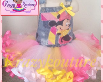 minnie mouse ribbon trimmed custom overall tutu set