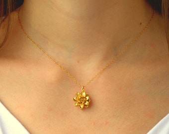 Gold flower necklace, Lotus necklace gold, Flower necklace, Flower necklace gold, Floral necklace, Lotus necklace, Gold lotus necklace,