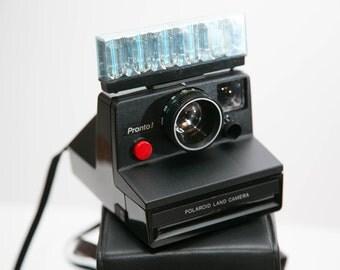 Black Polaroid Pronto! Instant Camera with Flash Bar, Instructions, Case