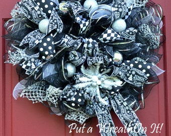 Classic Black and White Christmas Wreath with Silver accents