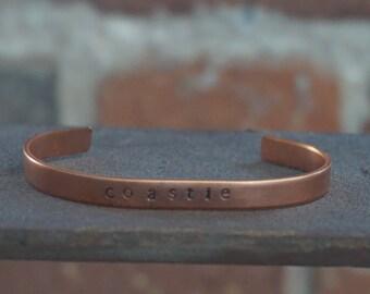 """Hand Stamped """"coastie"""" Bracelet/Cuff"""