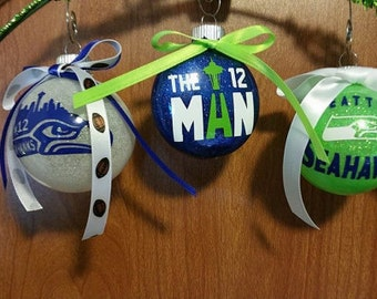 Set of 3 Glitter Seahawks Ornaments