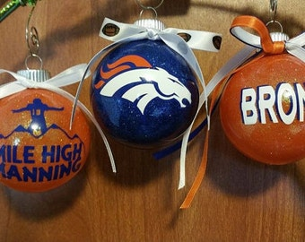 Set of 3 Glitter Denver Bronco Ornaments