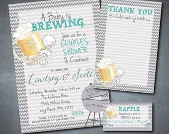 Baby is Brewing Bundle including invitation, thank you note & diaper raffle tickets / DIGITAL FILES/ printable/ wording/ink can be changed