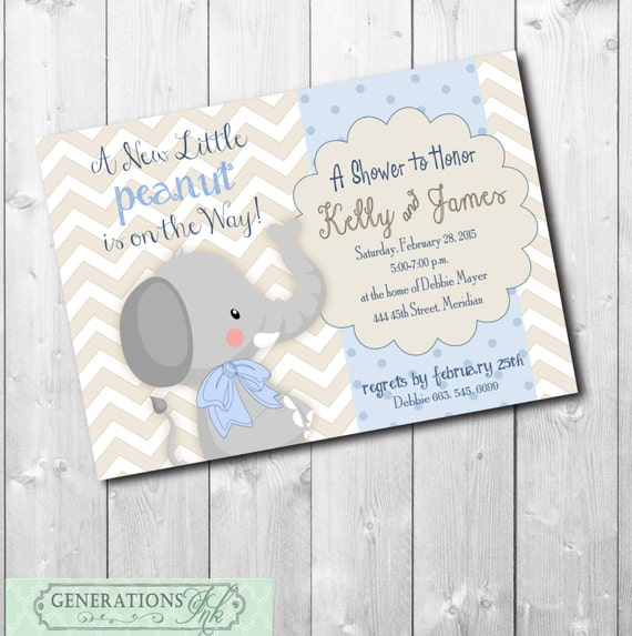 adorable elephant baby boy shower invitation colors wording can be