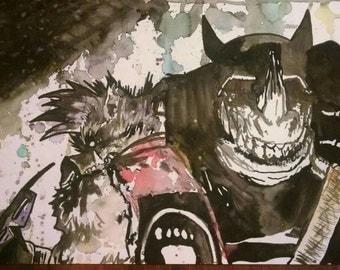 Bebop & Rocksteady Original Watercolor Painting / TMNT