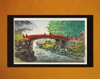 Japanese Art - Tsuchiya Koitsu Artwork - Ukiyo-e Art Home Decor Oriental Decor Asian Art Edo Period Japanese Artist Bridge 1 FREE