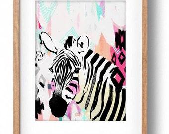 Okay Luna 'Zebra' Print A3
