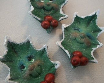 ceramic holly leaf Christmas holiday refrigerator magnets set of 3