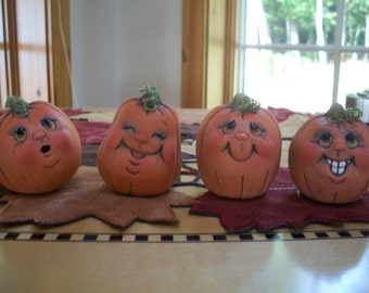 ceramic pumpkins set of 4,Halloween,Fall,Autumn decoration