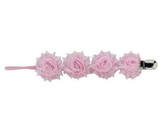 Chiffon Rose Pacifier Clip