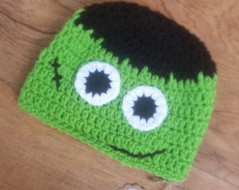 6-12 Month Monster Hat, Frankenstein, Baby Halloween Hat, Kids Costume, Crochet Baby Costume, Knit Baby Hat, Baby Halloween, Baby Costume
