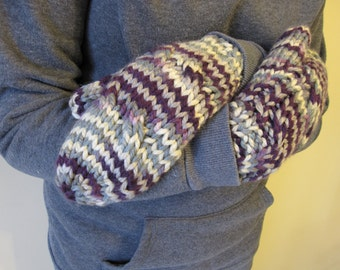 Handmade Lined With Flannelette  Cable Knit Mittens in Purple/Tan/Grey