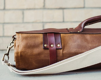 Waxed Canvas and Leather Chef Knife Roll Knife Bag- The Proper Knife Roll