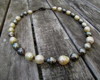 tahiti  tahitian pearls south sea pearl necklace leather