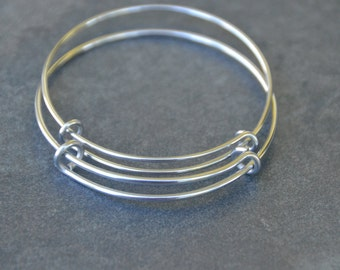 Stainless Steel Bangle Bracelet -Single Loop - Stainless Steel Expandable Bangle Bracelet - 60mm