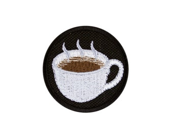 Hot Beverage Coffee Emoji Embroidered Iron On Patch - FREE SHIPPING