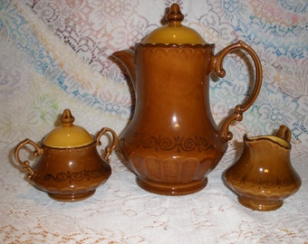 Metlox San Fernando Coffee Pot Creamer Sugar Bowl Set Vintage 1960's Vernon Ware Discontinued Serving Dining Replacement